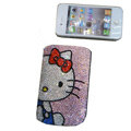 Luxury Bling Holster covers Hello Kitty Black Beard diamond crystal cases for iPhone 4G - Pink
