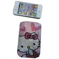 Luxury Bling Holster covers Hello Kitty Bowknot Rose diamond crystal cases for iPhone 4G - Pink