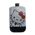 Luxury Bling Holster covers Hello Kitty Pair Beard diamond crystal cases for iPhone 4G - White