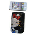 Luxury Bling Holster covers Hello Kitty Yellow Beard diamond crystal cases for iPhone 4G - Black