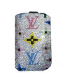 Luxury Bling Holster covers LV diamond crystal cases for iPhone 4G - White