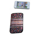 Luxury Bling Holster covers Leopard Grain Horizontal diamond crystal cases for iPhone 4G - Pink