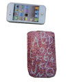 Luxury Bling Holster covers Letter diamond crystal cases for iPhone 4G - Pink