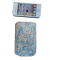 Luxury Bling Holster covers Letter diamond crystal cases for iPhone 4G - White
