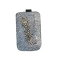 Luxury Bling Holster covers Metal Leopard diamond crystal cases for iPhone 4G - White