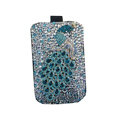 Luxury Bling Holster covers Metal Peacock diamond crystal cases for iPhone 4G - Blue