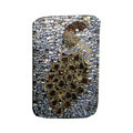 Luxury Bling Holster covers Metal Peacock diamond crystal cases for iPhone 4G - Brown
