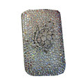 Luxury Bling Holster covers Metal Tortoise diamond crystal cases for iPhone 4G - White