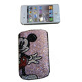 Luxury Bling Holster covers Mickey Mouse diamond crystal cases for iPhone 4G - Pink