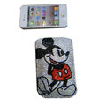 Luxury Bling Holster covers Mickey Mouse diamond crystal cases for iPhone 4G - Red
