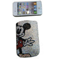 Luxury Bling Holster covers Mickey Mouse diamond crystal cases for iPhone 4G - White