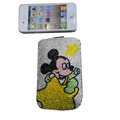 Luxury Bling Holster covers Mickey Mouse diamond crystal cases for iPhone 4G - Yellow
