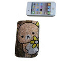 Luxury Bling Holster covers Panda diamond crystal cases for iPhone 4G - Brown