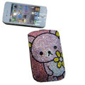 Luxury Bling Holster covers Panda diamond crystal cases for iPhone 4G - Pink