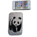 Luxury Bling Holster covers Panda diamond crystal cases for iPhone 4G - White
