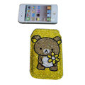 Luxury Bling Holster covers Panda diamond crystal cases for iPhone 4G - Yellow