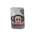 Luxury Bling Holster covers Paul Frank diamond crystal cases for iPhone 4G - White