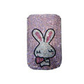 Luxury Bling Holster covers Rabbit Heart diamond crystal cases for iPhone 4G - Pink
