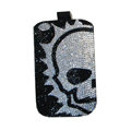 Luxury Bling Holster covers Skull Half diamond crystal cases for iPhone 4G - Black