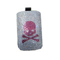 Luxury Bling Holster covers Skull diamond crystal cases for iPhone 4G - Pink
