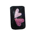 Luxury Bling Holster covers Two Heart diamond crystal cases for iPhone 4G - Black