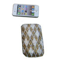 Luxury Bling Holster covers diamond-shaped diamond crystal cases for iPhone 4G - Brown
