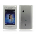 Nillkin matte scrub skin cases covers for Sony Ericsson X8 E15i - White (High transparent screen protector)