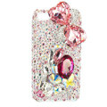 Bling Bowknot Swarovski crystals diamond cases covers for iPhone 4G - Pink