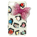 Bling Bowknot Swarovski crystals diamond cases covers for iPhone 4G - Rose