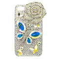 Bling Butterfly flower Swarovski crystals diamond cases covers for iPhone 4G - White