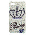 Bling Crown Swarovski crystals diamond cases covers for iPhone 4G - White