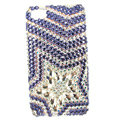Bling Five-pointed star Swarovski crystals diamond cases covers for iPhone 4G - Purple