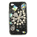 Bling Flowers Pearl Swarovski crystals diamond cases covers for iPhone 4G - Black