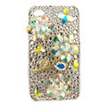 Bling Flowers butterfly Swarovski crystals diamond cases covers for iPhone 4G - White