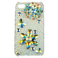 Bling Flowers butterflys Swarovski diamond crystals cases covers for iPhone 4G - White
