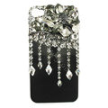 Bling Flowers raindrop Swarovski crystals diamond cases covers for iPhone 4G - Black