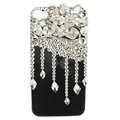 Bling Flowers raindrop Swarovski crystals diamond cases covers for iPhone 4G - White