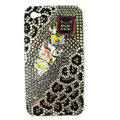 Bling Leopard Swarovski crystals diamond cases covers for iPhone 4G - Black