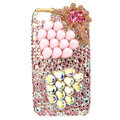 Bling Pearl flower Swarovski crystals diamond cases covers for iPhone 4G - Pink