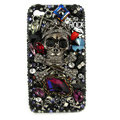 Bling Skulls rock Swarovski diamond crystals cases covers for iPhone 4G - Black