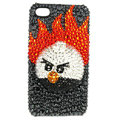 Bling Swarovski Angry bird crystals diamond cases covers for iPhone 4G - Black