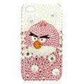 Bling Swarovski Angry bird crystals diamond cases covers for iPhone 4G - Pink