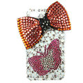Bling Swarovski Bowknot Butterfly crystal diamond cases covers for iPhone 4G - Red