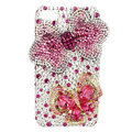 Bling Swarovski Bowknot Butterfly diamond crystal cases covers for iPhone 4G - Pink