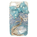 Bling Swarovski Bowknot Swan crystal diamond cases covers for iPhone 4G - Blue