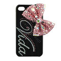 Bling Swarovski Bowknot covers personalized letters diamond crystal cases for iPhone 4G - Pink