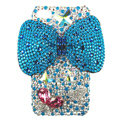 Bling Swarovski Bowknot crystal diamond cases covers for iPhone 4G - Blue