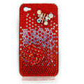 Bling Swarovski Butterfly diamond crystal cases covers for iPhone 4G - Red