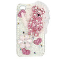 Bling Swarovski Cute Bear crystals diamond cases covers for iPhone 4G - Pink