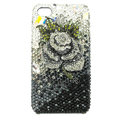 Bling Swarovski Flower diamond crystal cases covers for iPhone 4G - Black